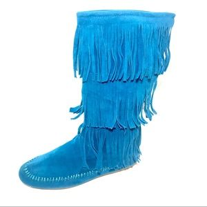 Shoes - Teal Mid Calf Fringe Moccasin Boots